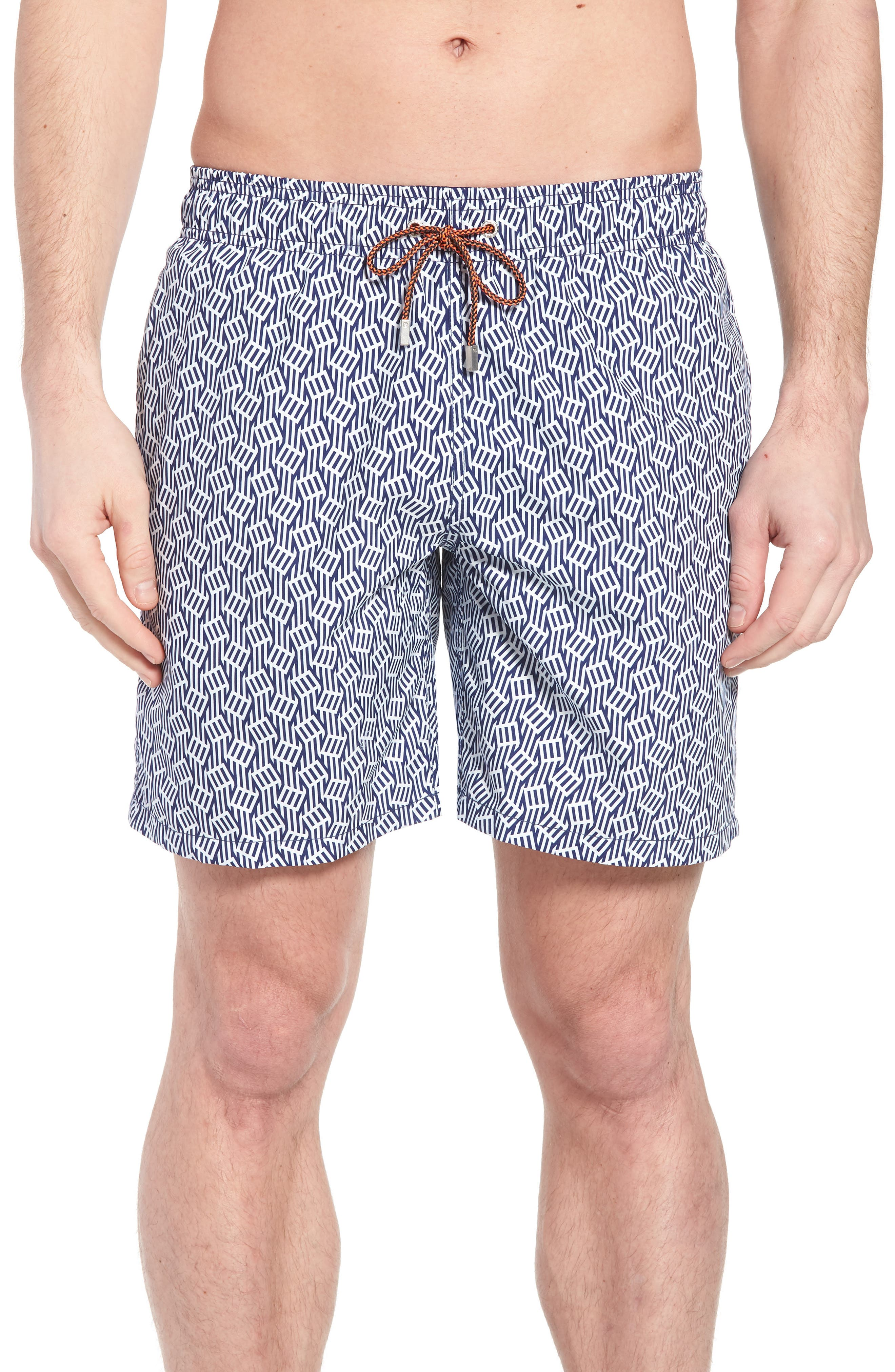 Bugatchi Abstract Leaf Print Swim Trunks, White