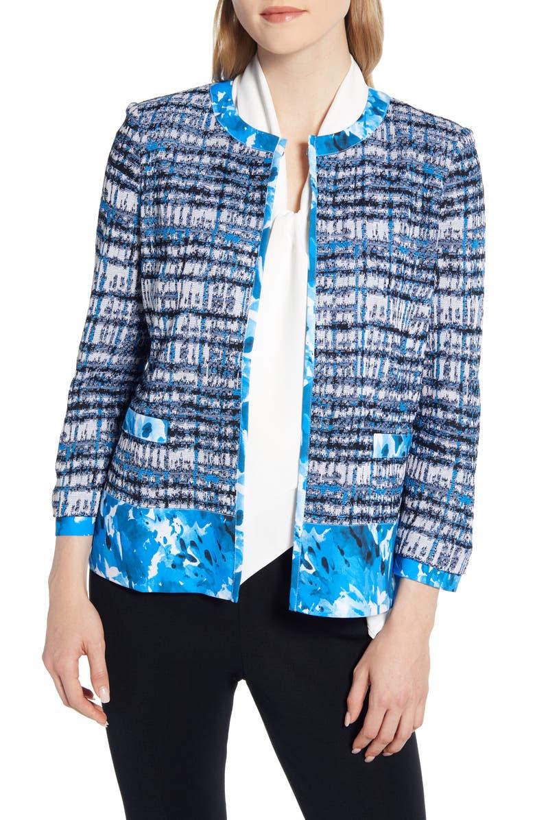 MING WANG Woven Trim Knit Jacket, Main, color, TWILIGHT/ BLACK/ WHITE