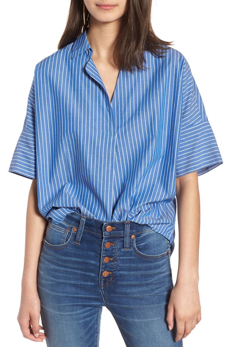 MADEWELL Courier Stripe Button Back Shirt, Main, color, 400