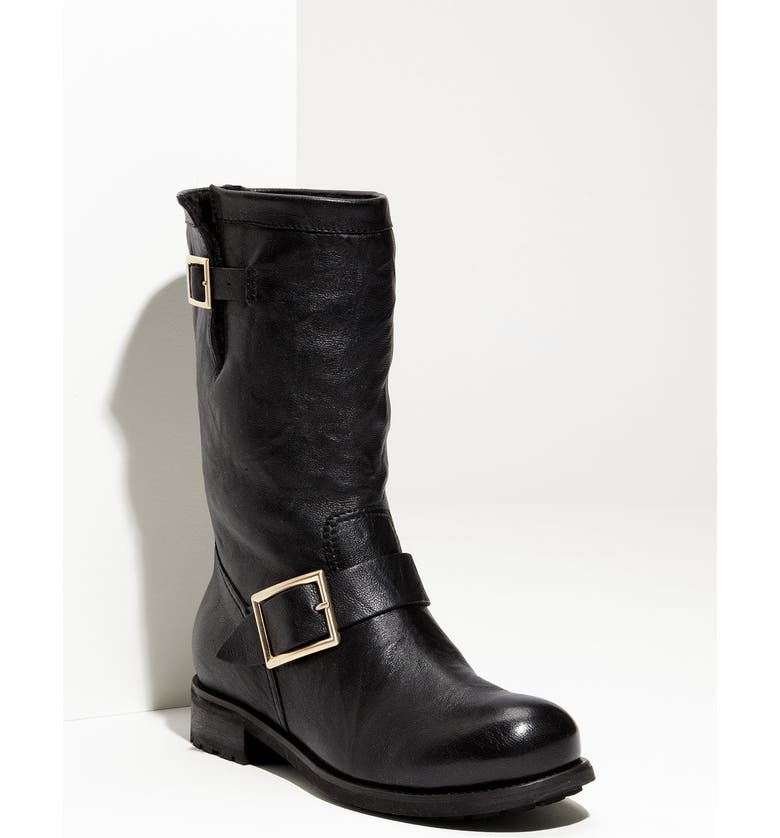 e4cb6acc5be20 Jimmy Choo Rabbit Fur & Leather Biker Boot | Nordstrom