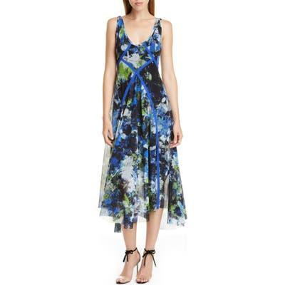 Fuzzi Floral Print Asymmetrical Midi Dress, Black