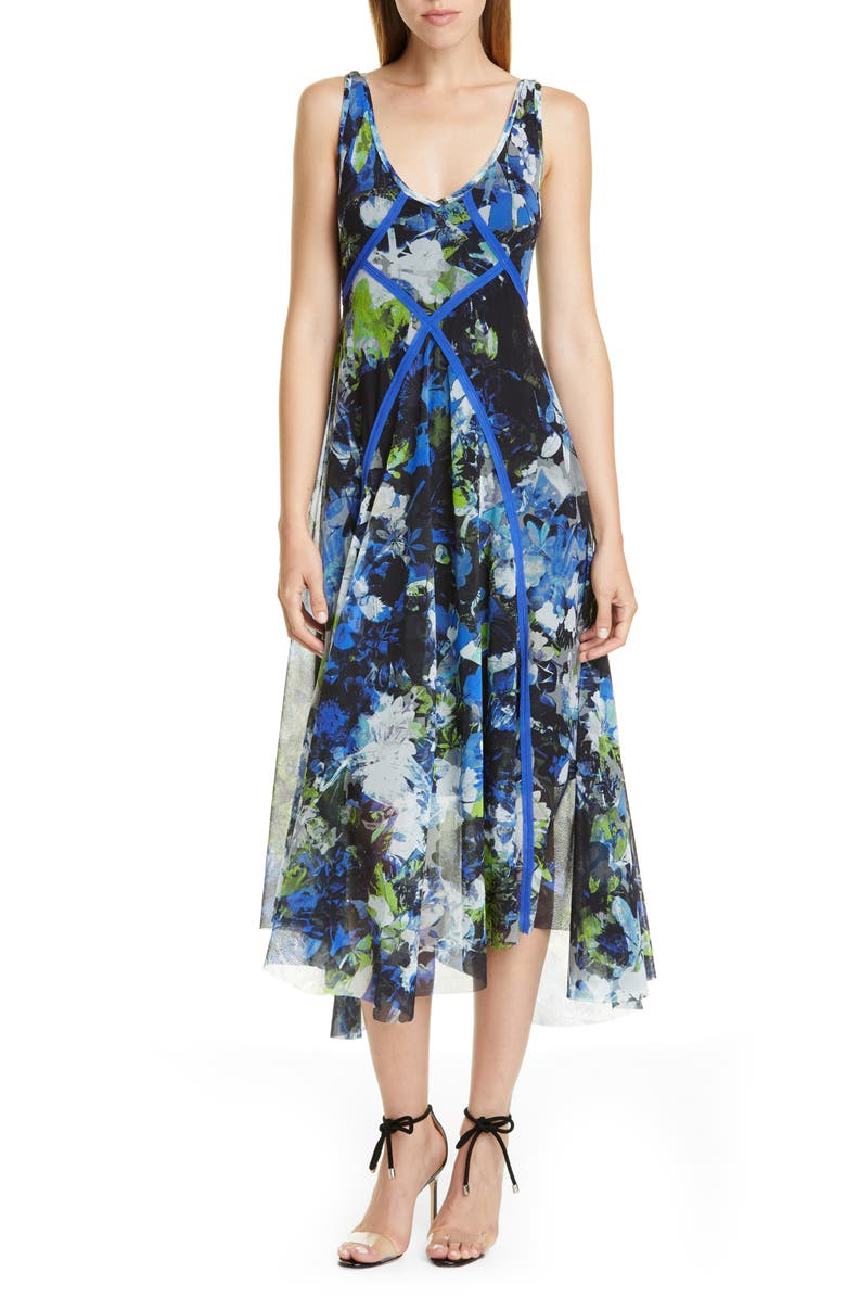FUZZI Floral Print Asymmetrical Midi Dress, Main, color, NERO