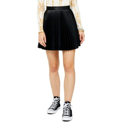 Topshop Pleated Faux Leather Miniskirt, US (fits like 16-18) - Black