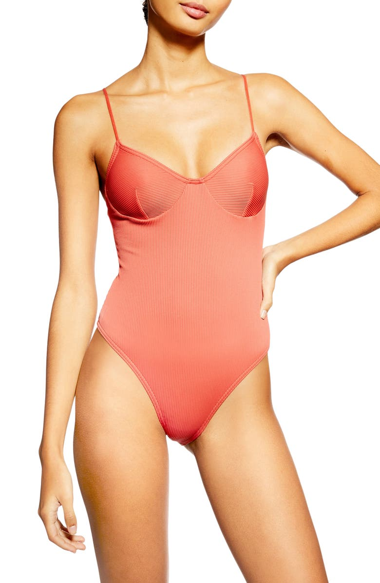 TOPSHOP Rib One-Piece Swimsuit, Main, color, RUST