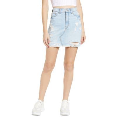 Tinsel Ripped Denim Miniskirt, 7 - Blue