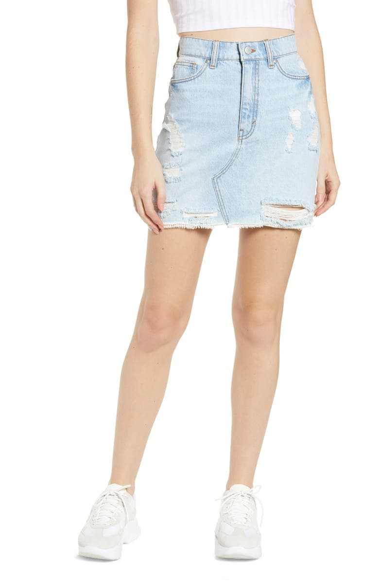 TINSEL Ripped Denim Miniskirt, Main, color, LIGHT WASH