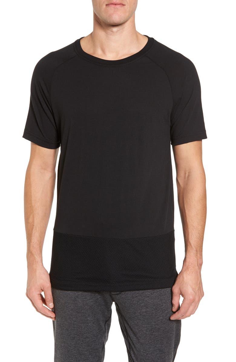 ALO Darma Mesh Hemmed T-Shirt, Main, color, BLACK