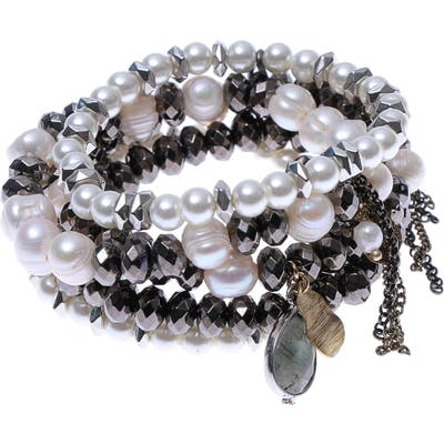 Nakamol Design Cultured Pearl Stacked Bracelet
