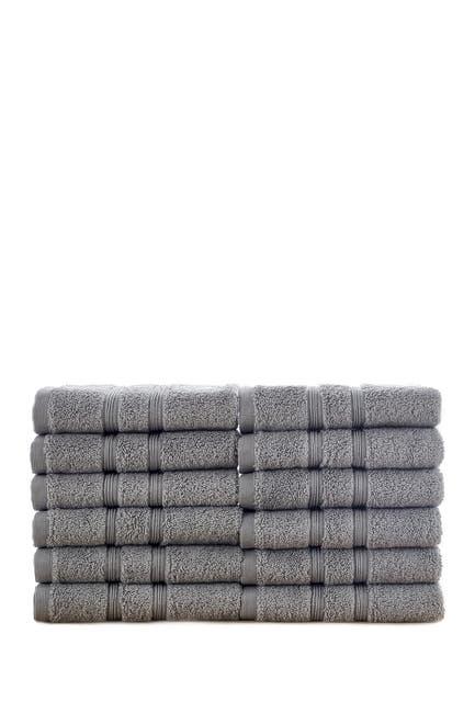 Image of Modern Threads Manor Ridge Turkish Cotton 700 GSM Wash Cloth - Set of 12 - Grey