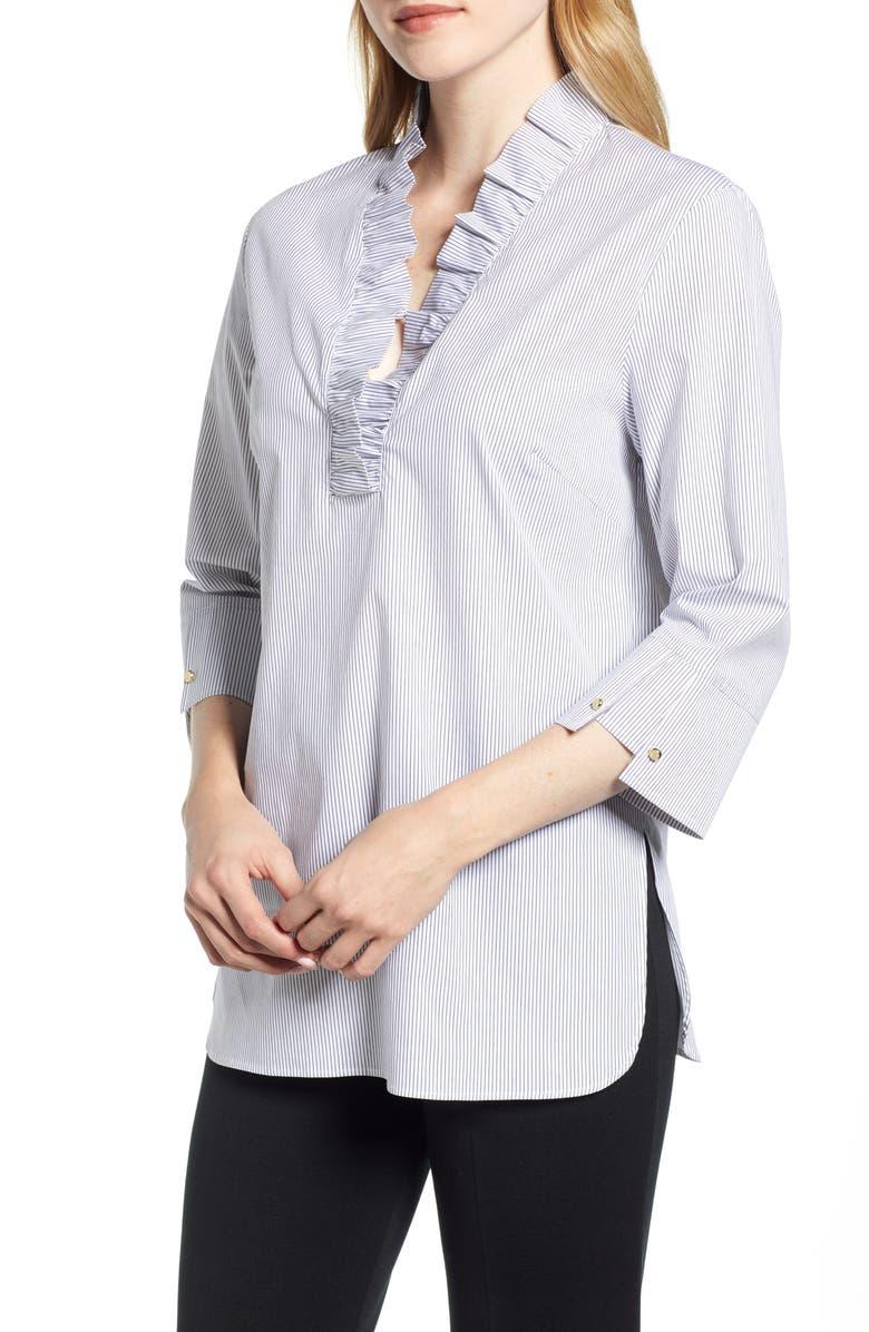 MING WANG Ruffle Neck Shirt, Main, color, BLACK/ WHITE