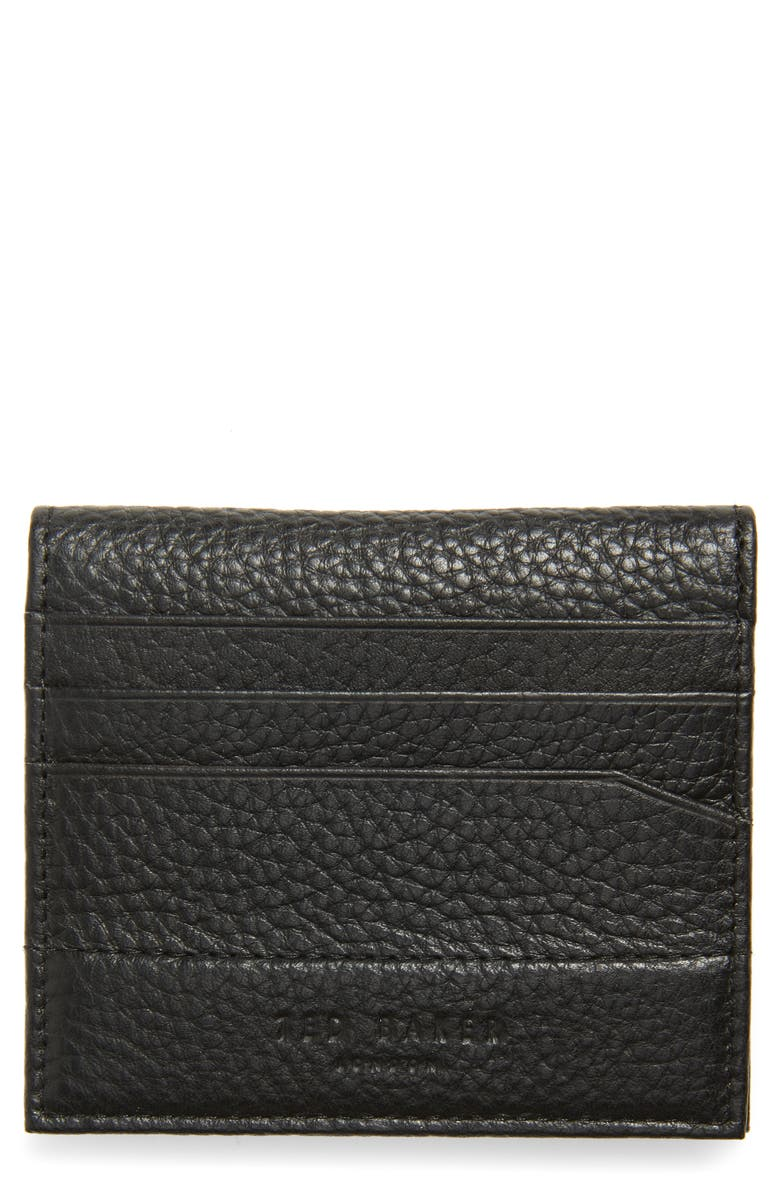 TED BAKER LONDON Steemer Leather Bifold Card Holder, Main, color, BLACK