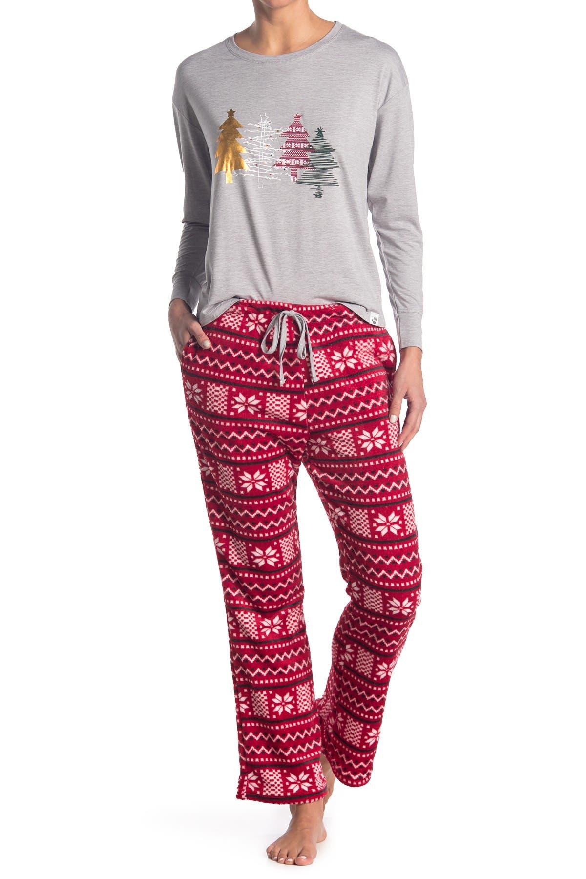 Image of BEARPAW Printed Top & Pant 2-Piece Pajama Set