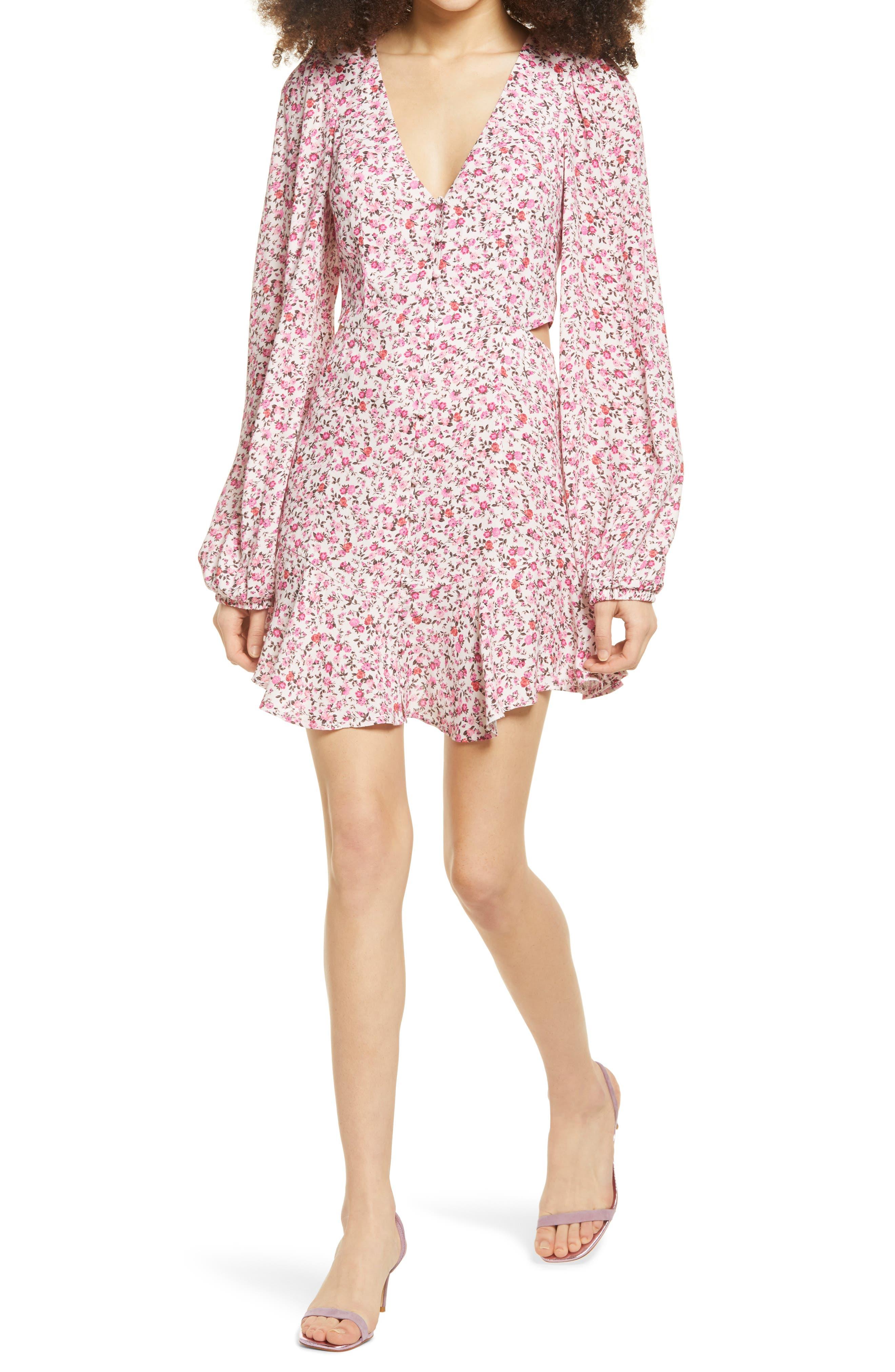 Monna Side Cutout Long Sleeve Minidress