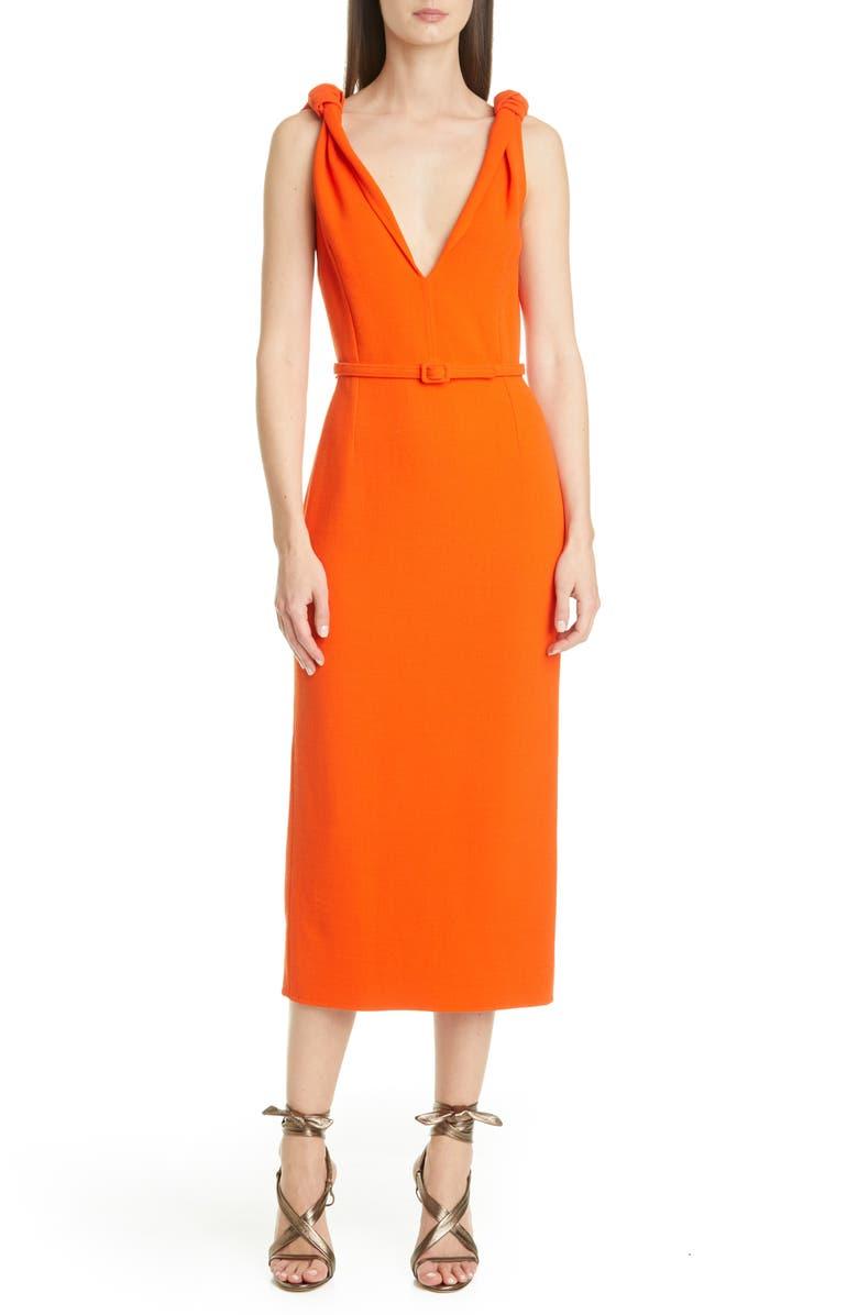 OSCAR DE LA RENTA Knot Crepe Midi Sheath Dress, Main, color, BURNT ORANGE