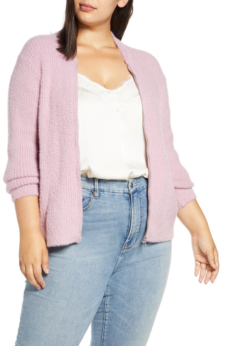 1.STATE Zip Front Eyelash Sweater Jacket, Main, color, ANTIQUE ROSE