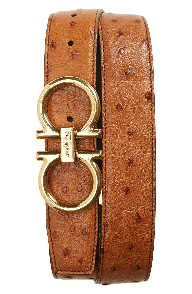 SALVATORE FERRAGAMO Ostrich Leather Belt, Main, color, 200