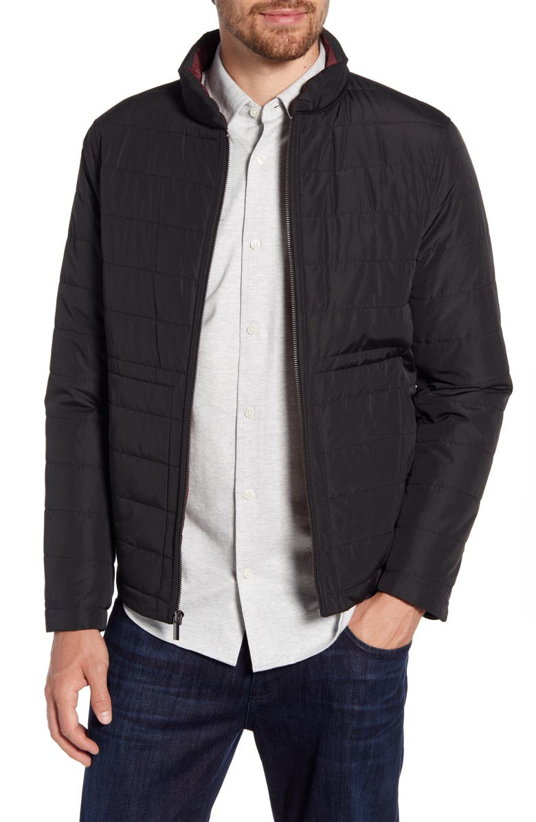 NORDSTROM SIGNATURE Quilted Jacket, Main, color, BLACK CAVIAR