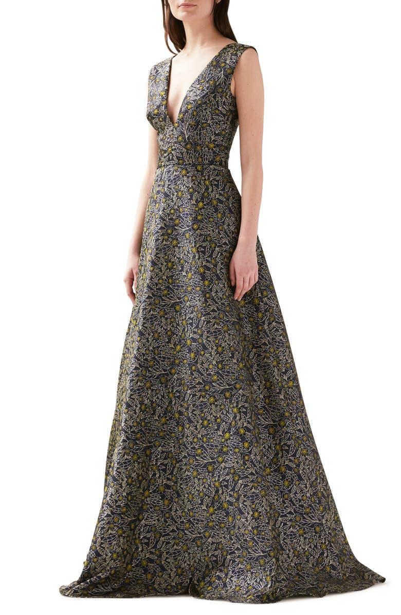 ML MONIQUE LHUILLIER Floral Jacquard Gown, Main, color, 404