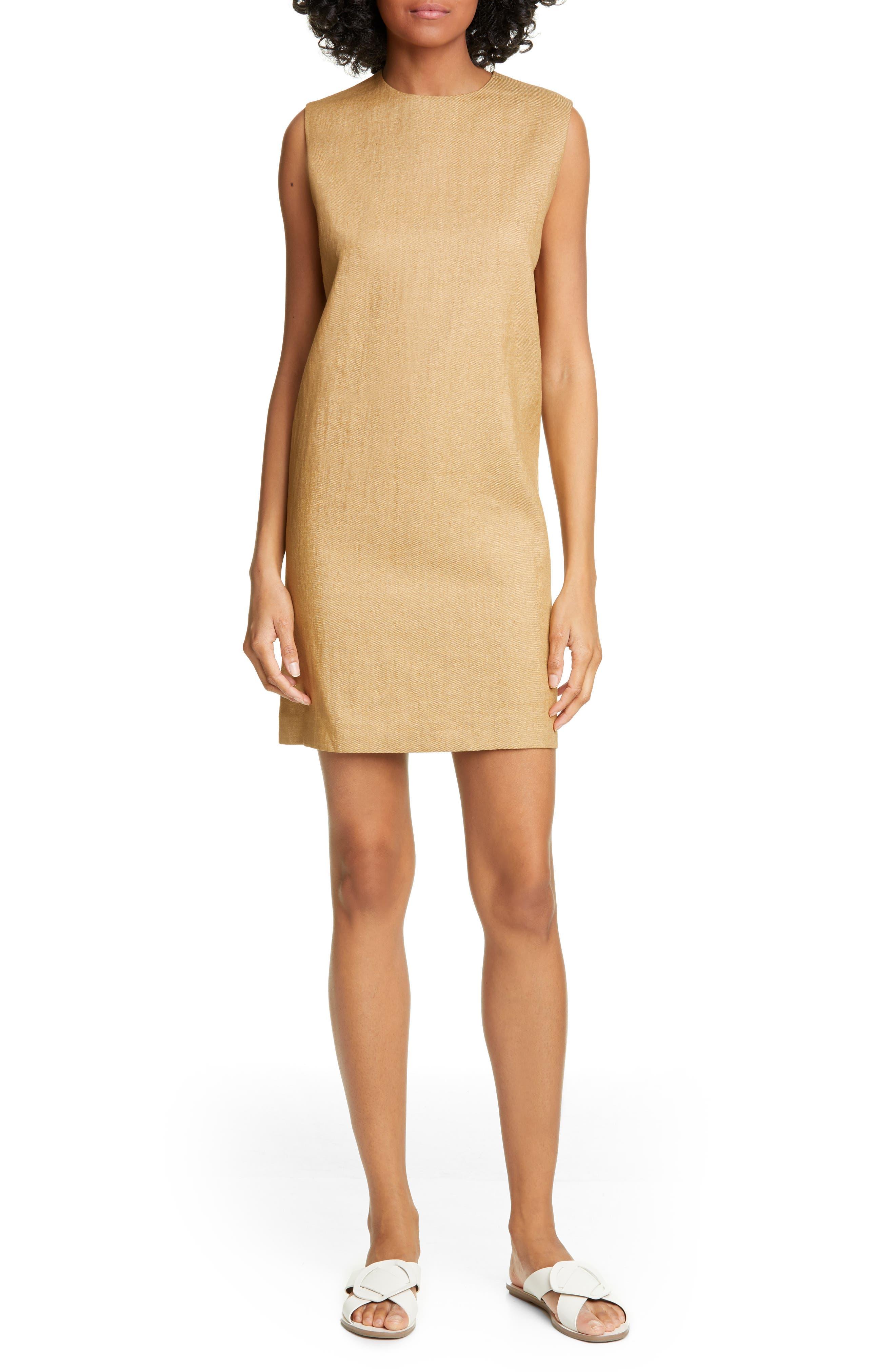 Theory Luxe Linen Blend Column Shift Dress, Beige