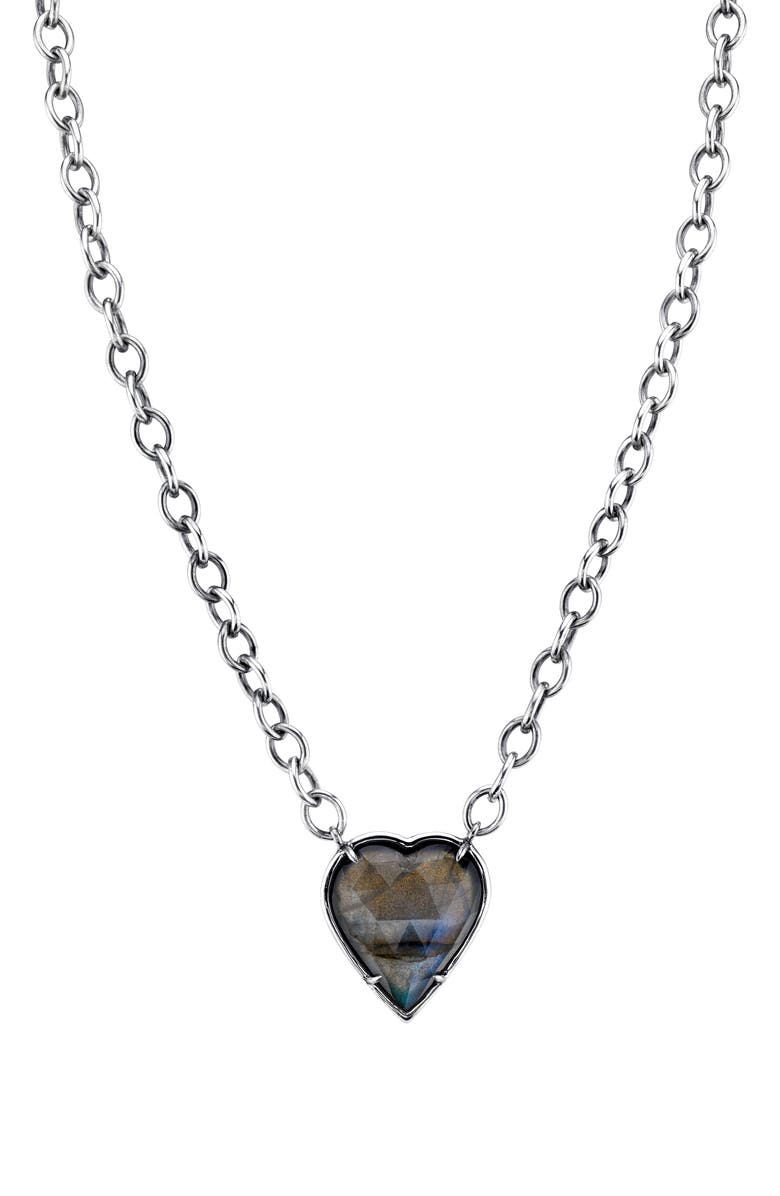 SHERYL LOWE Labradorite Heart Pendant Necklace, Main, color, STERLING SILVER