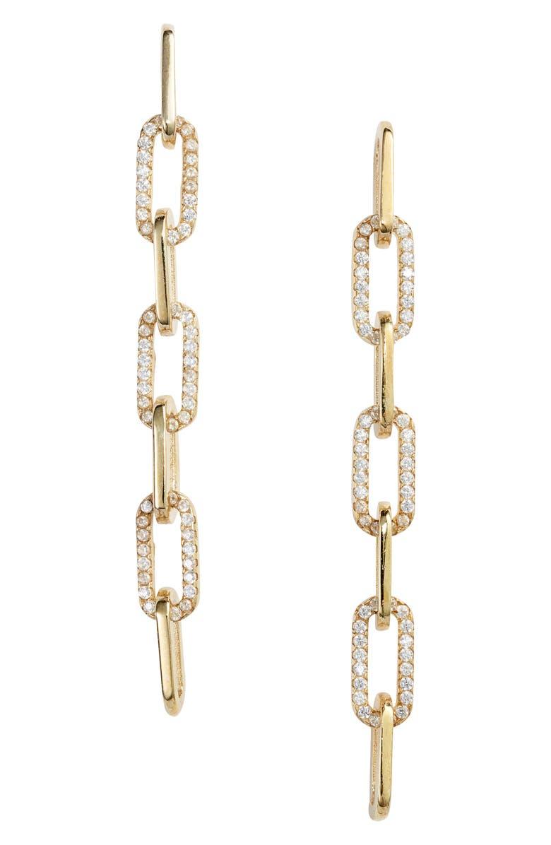 ADINA'S JEWELS Pavé Link Drop Earrings, Main, color, GOLD