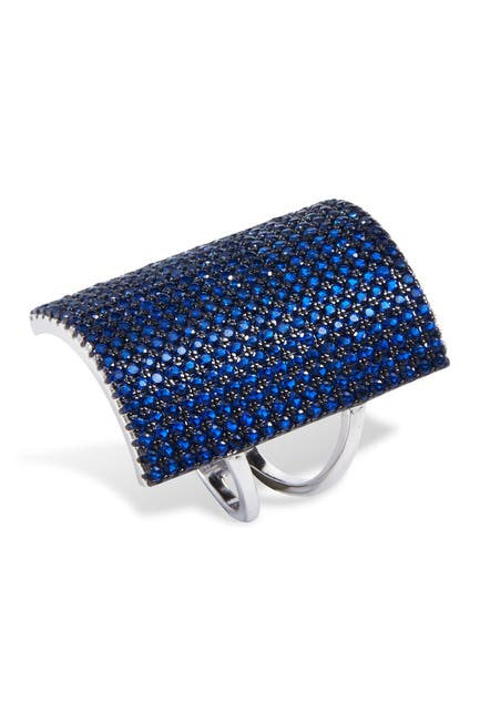 Image of Savvy Cie Sterling Silver Created Blue Spinel Shield Ring