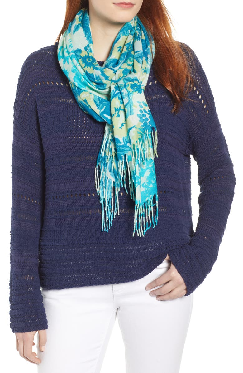 NORDSTROM Tissue Print Wool & Cashmere Wrap Scarf, Main, color, TEAL BLOOM TRIAD