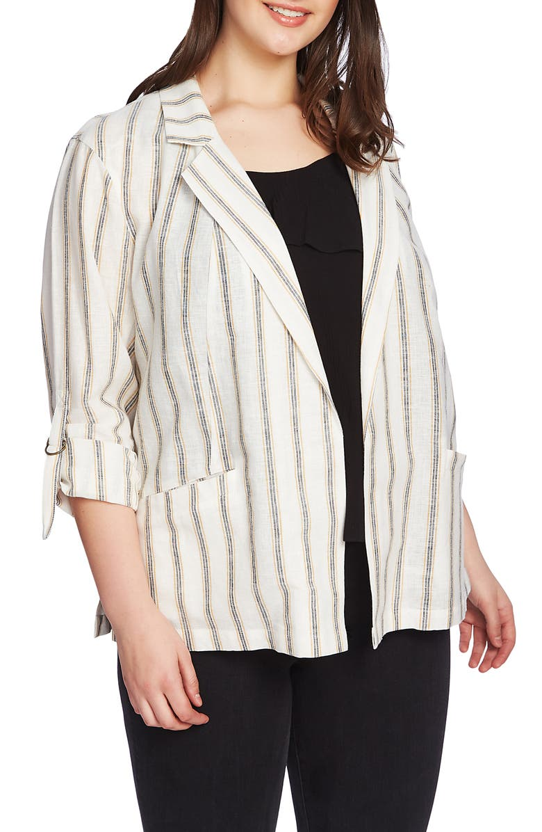 1.STATE Cabana Stripe Roll Sleeve Jacket, Main, color, GOLD SUN