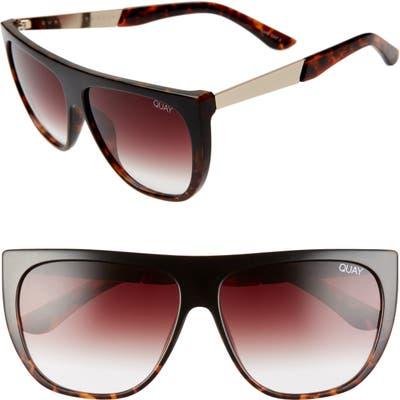 Quay Australia Drama By Day 55mm Square Sunglasses - Black Tortoise/ Brown Fade