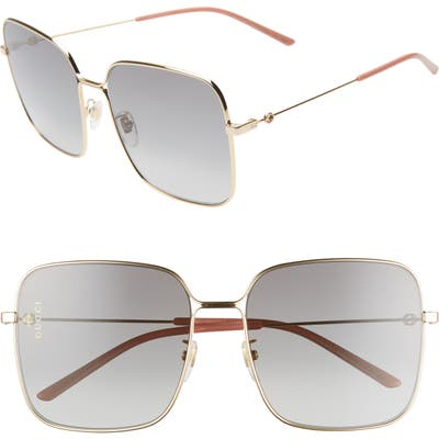 Gucci 60Mm Gradient Square Sunglasses - Shiny Endura Gld/gry Grad