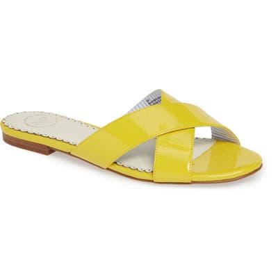 1901 Bryers Cross Band Slide Sandal- Yellow