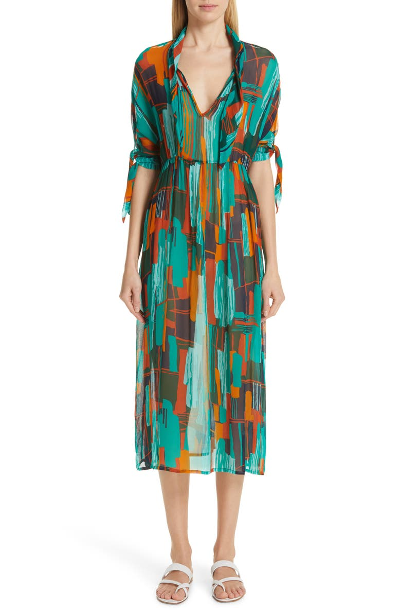 ROSEANNA Print Tie Neck Midi Dress, Main, color, 300