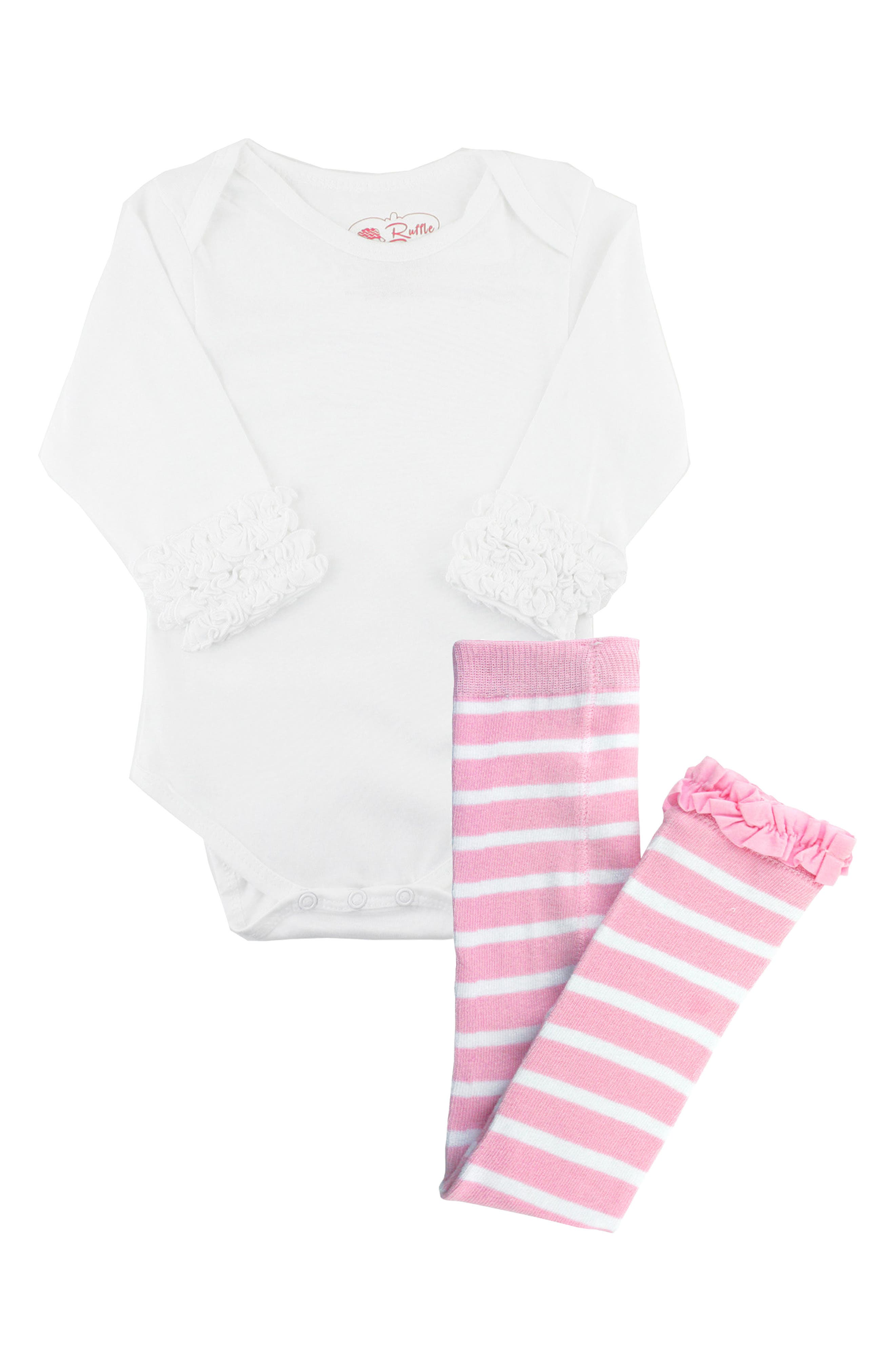 Abundant ruffles add endearing style to a long-sleeve cotton jersey bodysuit that pairs with striped tights for a perfect playtime style. Style Name: Rufflebutts Long Sleeve Bodysuit & Stripe Tights Set (Baby). Style Number: 5828456. Available in stores.