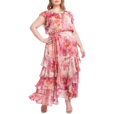 Plus Size Rachel Rachel Roy Issa Tie-Dye Maxi Dress, Pink