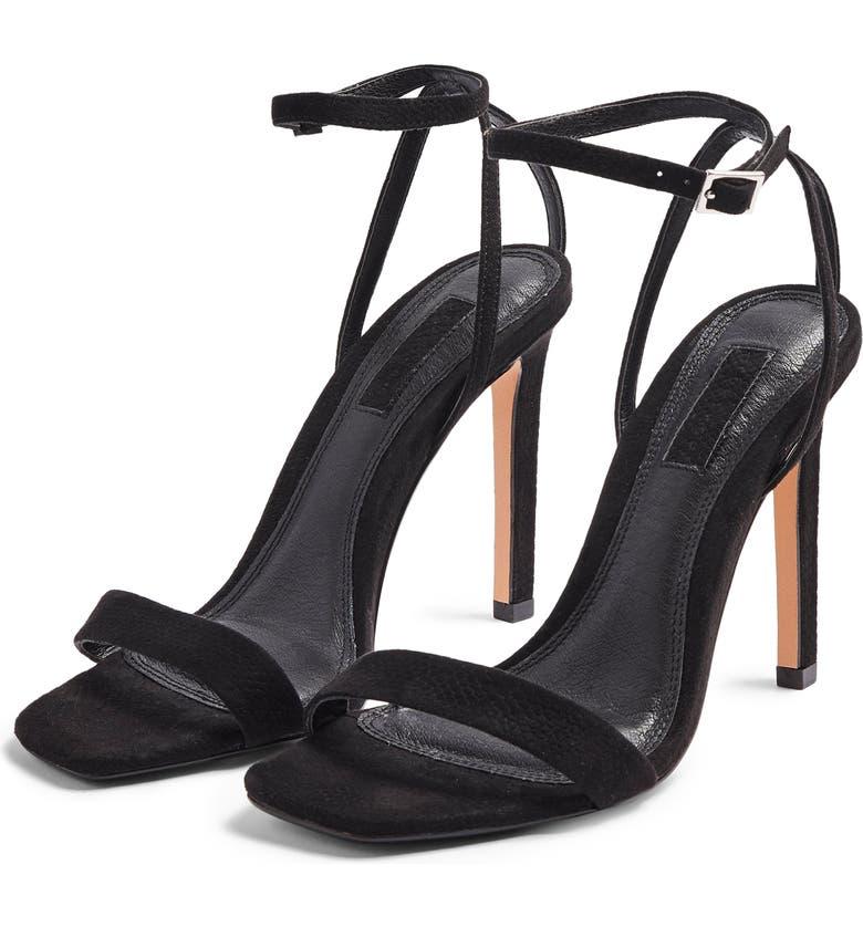 TOPSHOP Saskia Ankle Strap Sandal, Main, color, BLACK