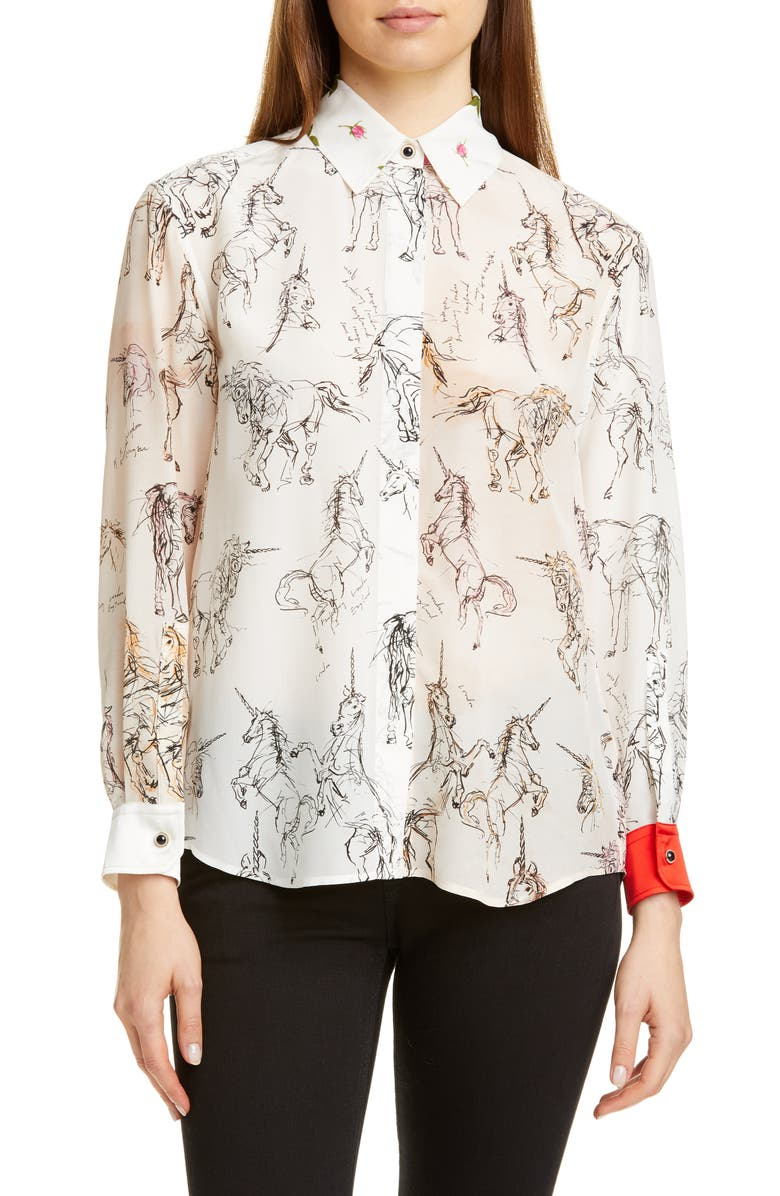 BURBERRY Lucinda Unicorn Sketch Mulberry Silk Shirt, Main, color, BLACK IP PATTERN