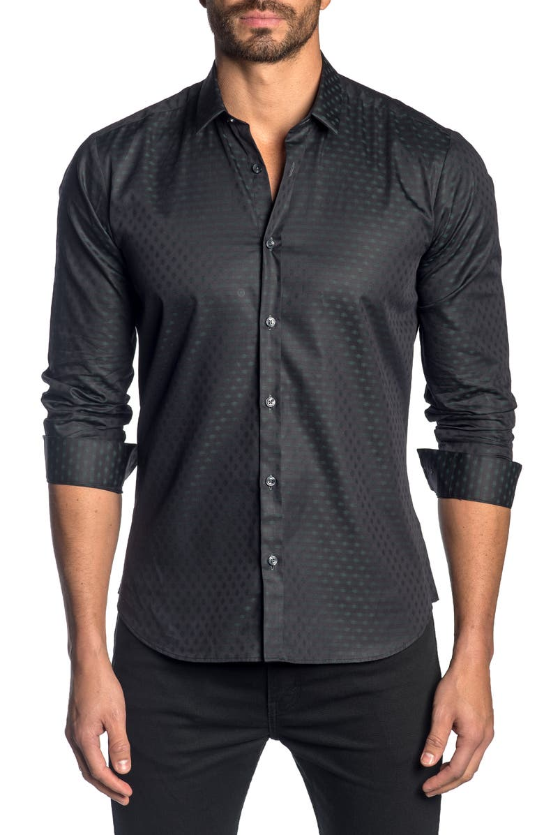 JARED LANG Slim Fit Print Button-Up Sport Shirt, Main, color, 080