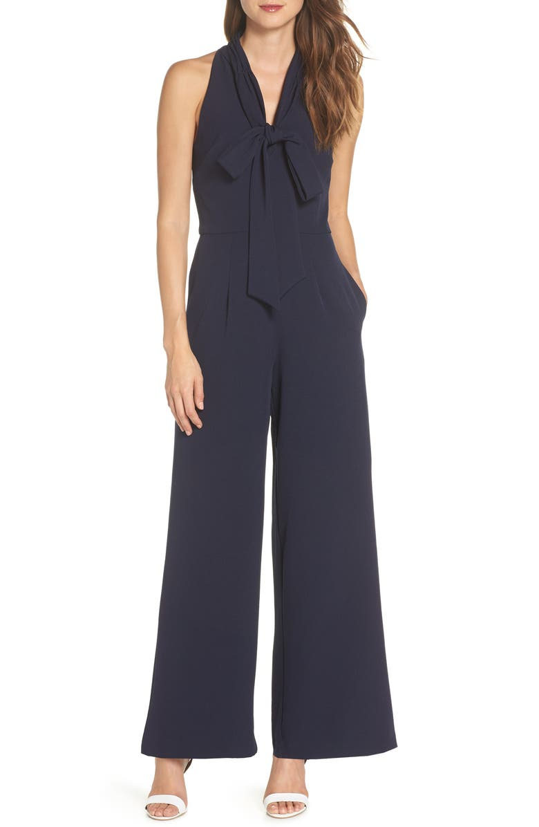 JULIA JORDAN Tie-Neck Halter Jumpsuit, Main, color, NAVY