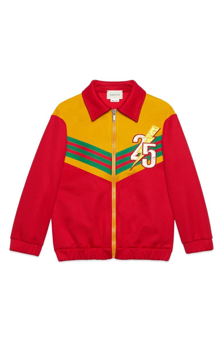 GUCCI Appliqué Zip Track Jacket, Main, color, CANDY APPLE