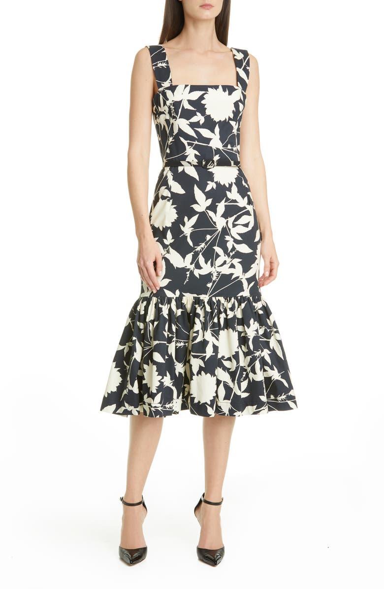 OSCAR DE LA RENTA Ruffle Hem Floral Stretch Twill Midi Dress, Main, color, NAVY