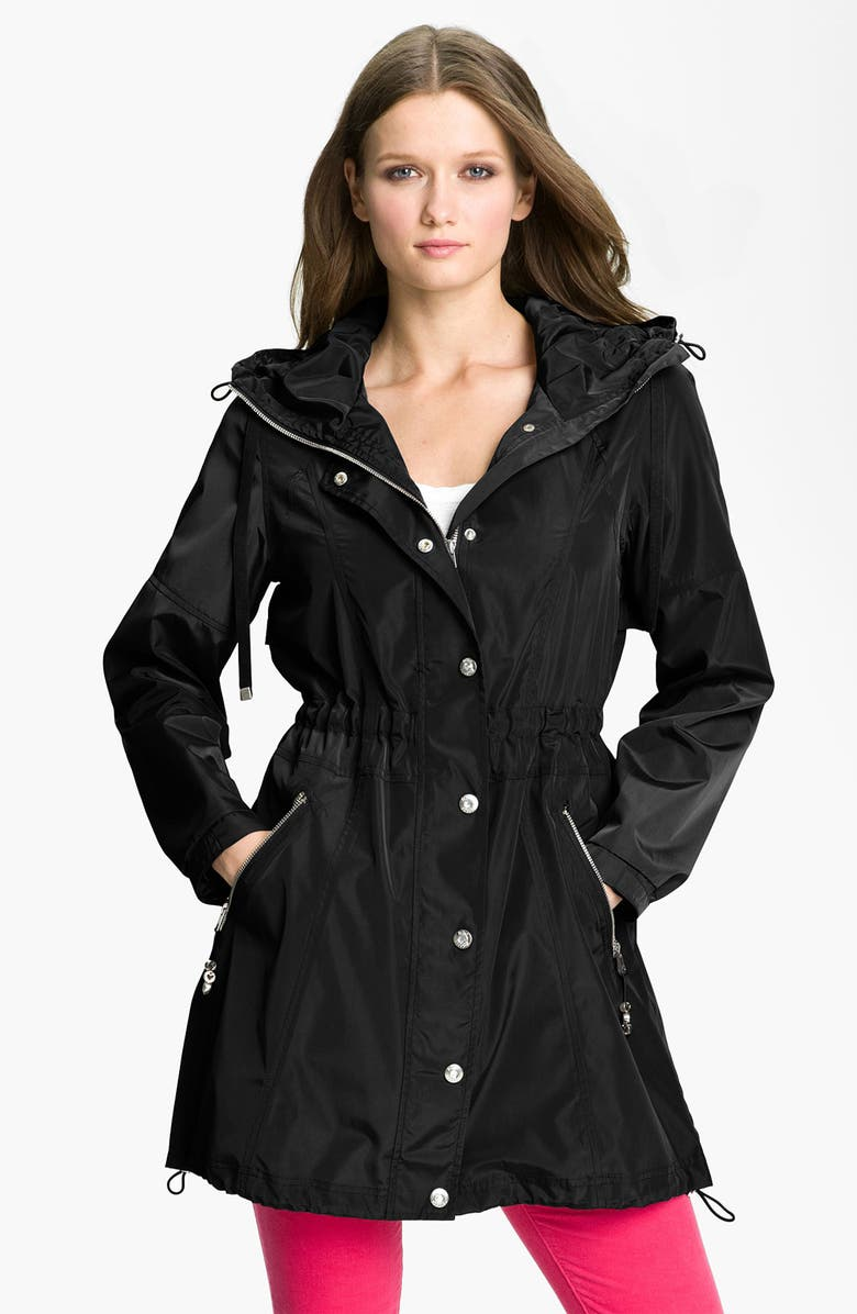 BETSEY JOHNSON Hooded Packable Anorak, Main, color, Black