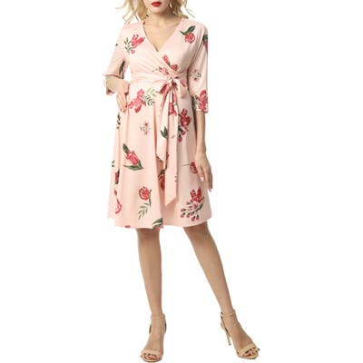Kimi And Kai Ashley Floral Faux Wrap Maternity Dress