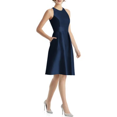 Alfred Sung High Neck Satin Cocktail Dress, Blue