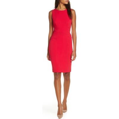 Petite Vince Camuto Sleeveless Crepe Sheath Dress, Pink