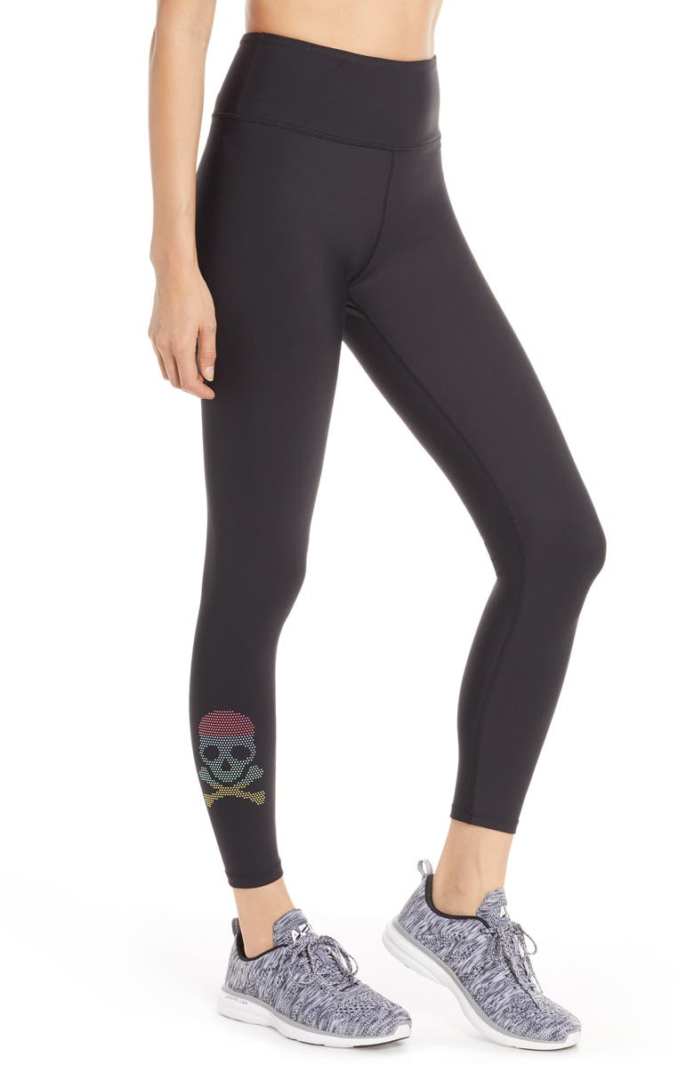 SOUL BY SOULCYCLE Pride Skull High Waist Leggings, Main, color, BLACK