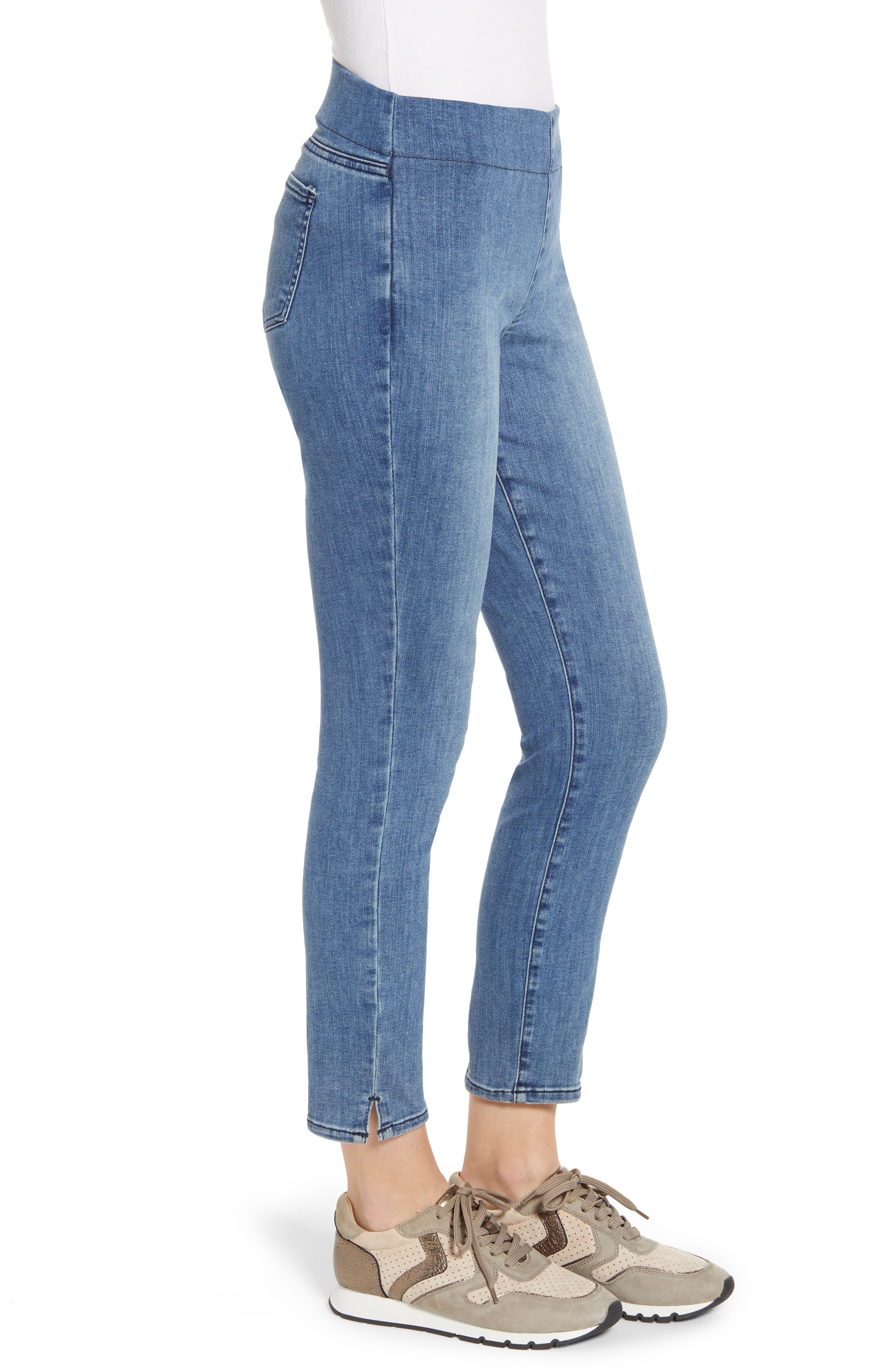,                             Alina Pull-On Ankle Skinny Jeans,                             Alternate thumbnail 4, color,                             AQUINO