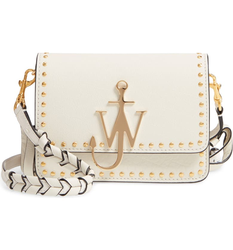 JW ANDERSON J.W. Anderson Studded Anchor Logo Crossbody Bag, Main, color, OFF WHITE