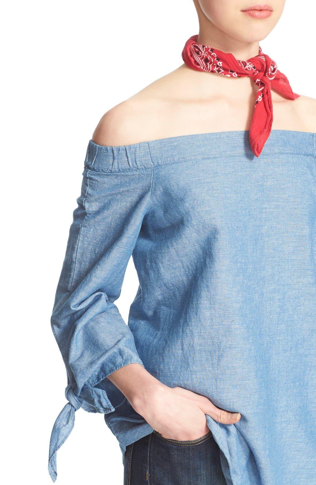 ,                             'Show Me Some Shoulder' Off the Shoulder Cotton Blouse,                             Alternate thumbnail 18, color,                             459