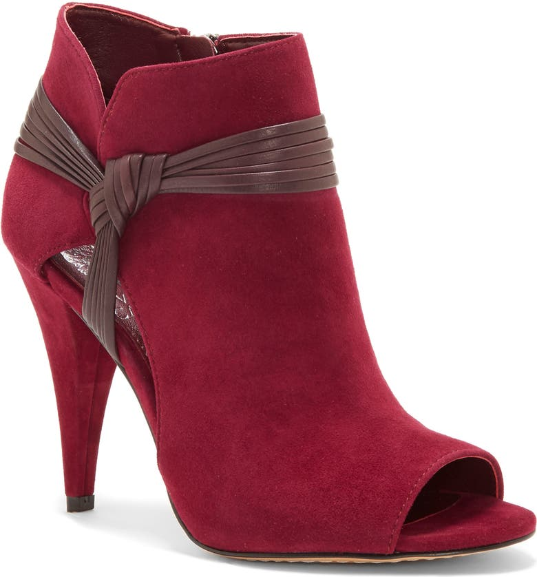 VINCE CAMUTO Annavay Open Toe Bootie, Main, color, RIBBON/MAHOGANY RED SUEDE