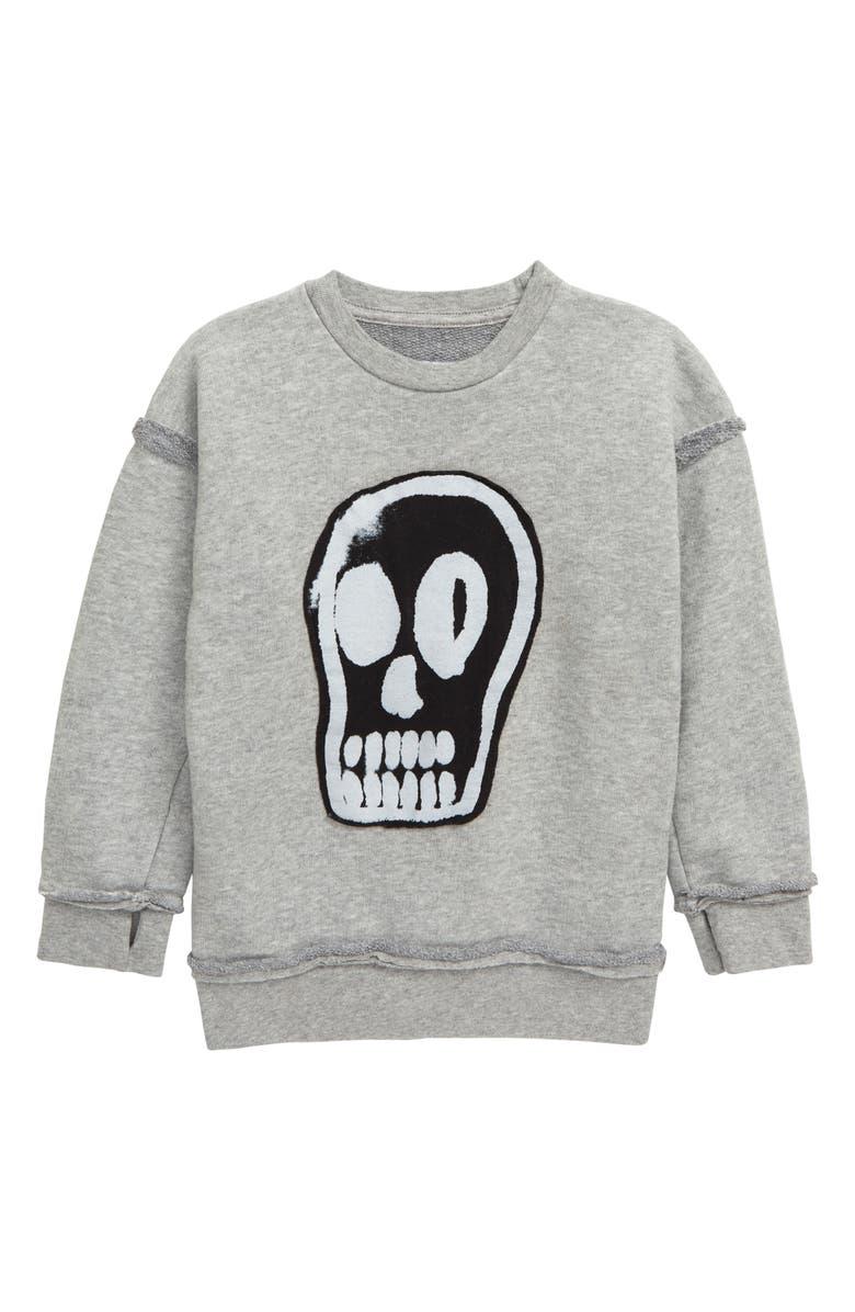 NUNUNU Dizzy Skull Sweatshirt, Main, color, HEATHER GREY